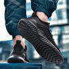 Men's Breathable Solid Color Mesh Fabric Casual Sports Shoes Durable - BLACK