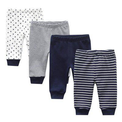 KIDDIEZOOM Baby Cotton Soft Striped Pants 4pcs