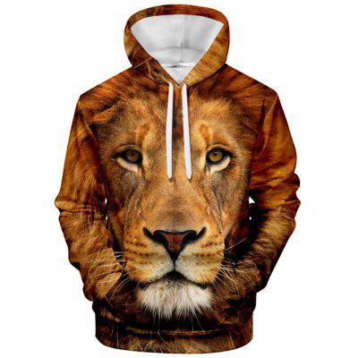 Men's Hoodie Animal Print Hood