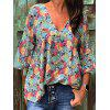 Women's V-neck Flare Sleeve Top - YELLOW