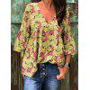 Women's V-neck Flare Sleeve Top - BLUE IVY