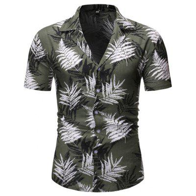 Men's Shirt Short Sleeve Leaf Print Beach