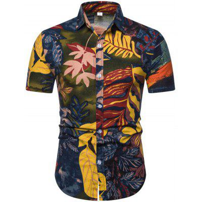 Men's Shirt Lapel Collar Short-sleeved Ethnic Style Printing