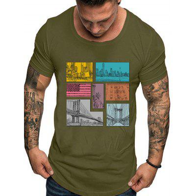 Men's T-shirt Casual Print Solid Color Short-sleeved Round Neck