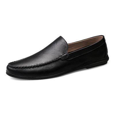 Men's Pigskin Slip-on Breathable Casual Shoes Solid Color