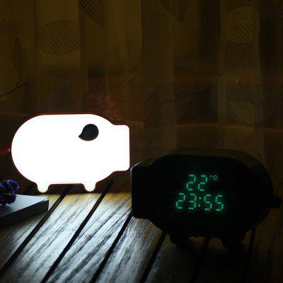 Cartoon Pig Snooze Clock Thermometer Alarm Night Light