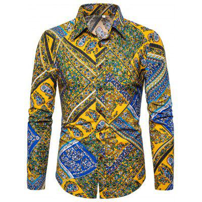 Men Long-sleeved Flower Shirt
