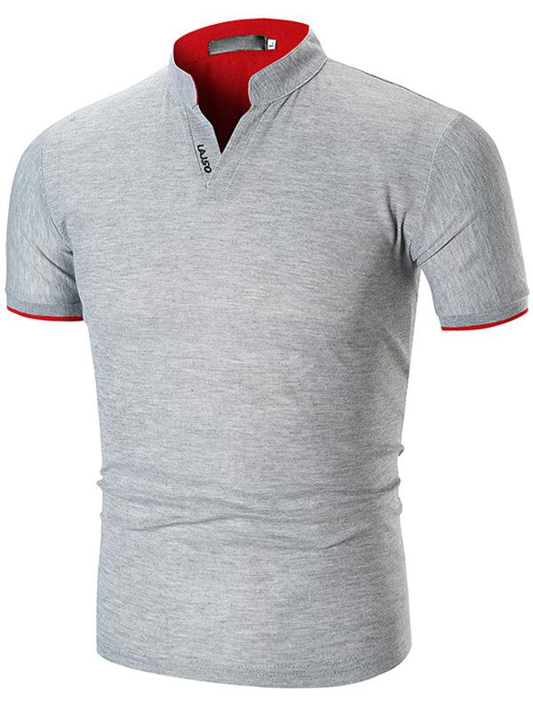 Men's T-shirt Short Sleeve Striped Cuff Stand Collar