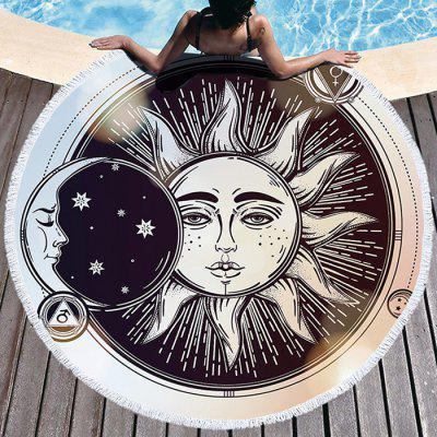 Moon Sun Thick Round Beach Towel