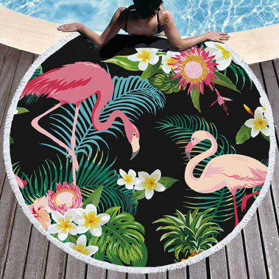 Flamingo Thick Round Beach Towel