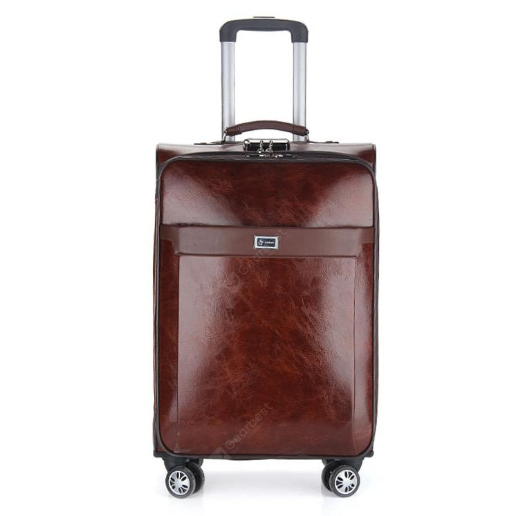 Men's PU Universal Wheel Retro Business Rolling Luggage