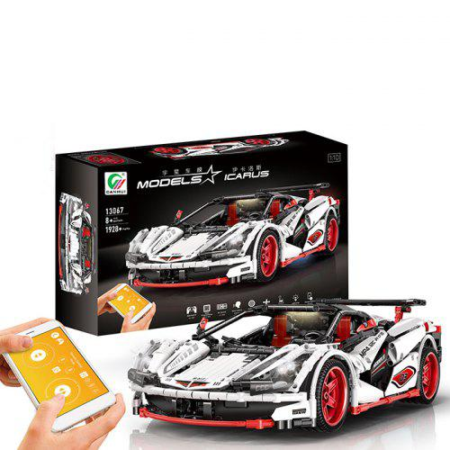 Gearbest MOC - 6687 Cool 1:10 Sports Car Building Blocks 2.4G / APP Remote Control Two Modes - White with Luxurious Atmosphere Lighting