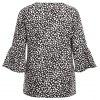 Women's Round Neck Personalized Print Bell Sleeve Blouse Loose Fit - BLACK
