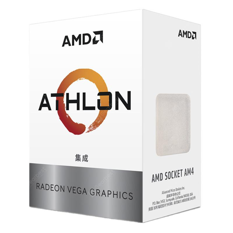 AMD Athlon 200GE CPU with Radeon Vega 3 Graphic 2 Core 4 Thread AM4 Interface 3.2GHz
