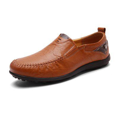 AILADUN Men's Solid Color PU Non-slip Casual Shoes Slip-on