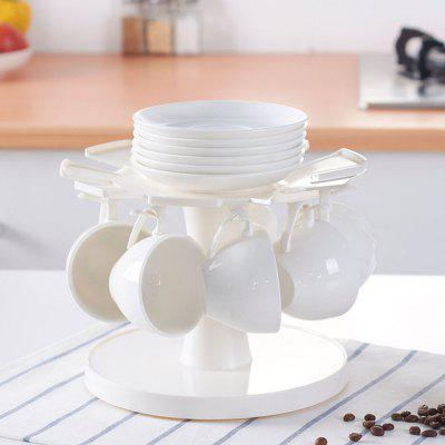 Home Kitchen Rotatable Cup Saucer Storage Rack