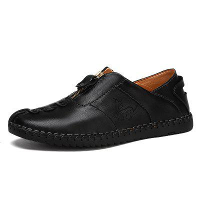 AILADUN Men's Handmade Casual Zipper Design Shoes