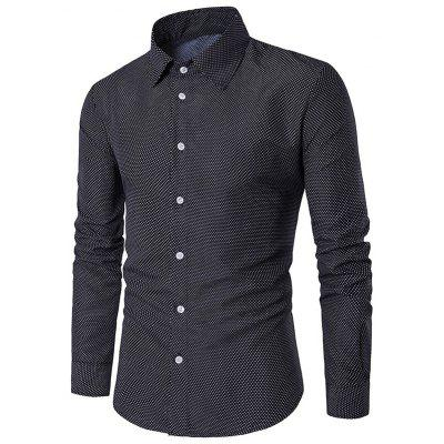 Men's Shirt Turn Down Collar Long Sleeve Dot Print Gearbest