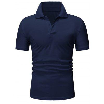 Men's T-shirt Solid Color Short Sleeve Turn Down Collar