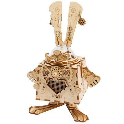 Robotime AM481 DIY 3D Wooden Puzzle Creative Gifts Rabbit Music Box Toy