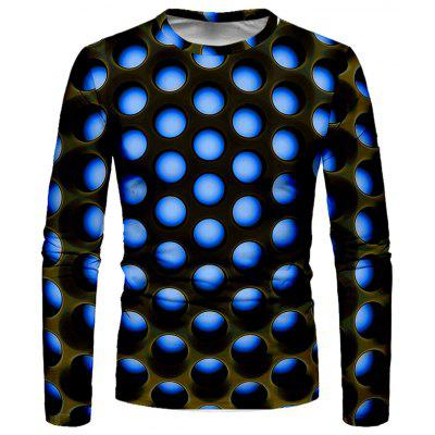 Men's T-shirt 3D Round Creative Print Long Sleeve