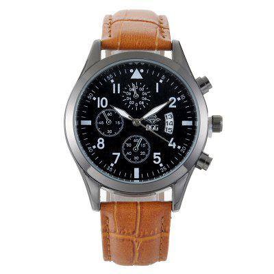 BGG K0004 Men's Leather Strap Calendar Waterproof Quartz Watch