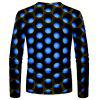 Men's T-shirt 3D Round Creative Print Long Sleeve - RED