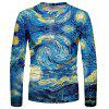 Men's T-shirt Abstract Spray Print Long Sleeve - TURQUOISE