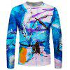 Heren T-shirt met abstracte sprayprint met lange mouw - DEEP SKY BLUE