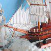 Handmade Craft Wooden Sailing Boat Model Home Decor - MULTI