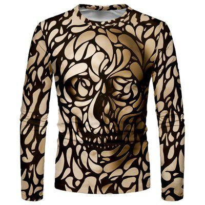 Men's T-shirt Long Sleeve Creative Horror Print