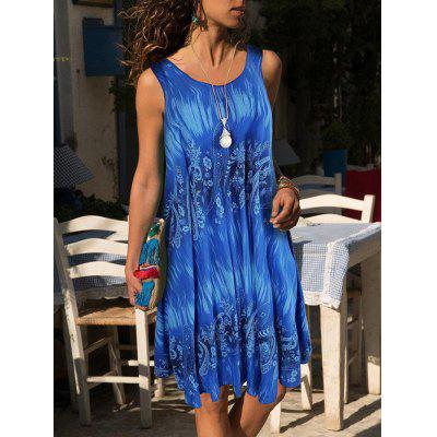 Women's Fashion Digital Print Vest Dress Sleeveless