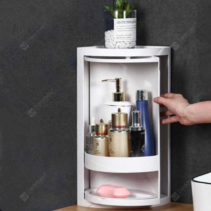 Kitchen Bathroom Suction Wall Rotating Triangle Storage Rack