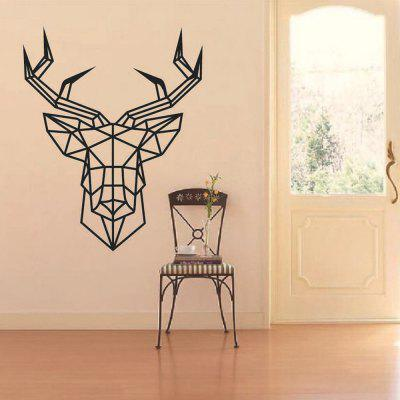 Geometric Deer Head Carved Home Background Wall Decoration Removable Stickers