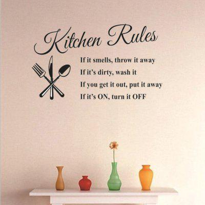 Kitchen Rules English Letters Home Decoration Removable Stickers
