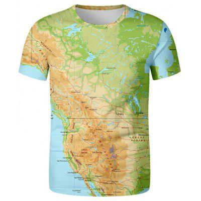 Men's Creative Map Short Sleeve T-shirt