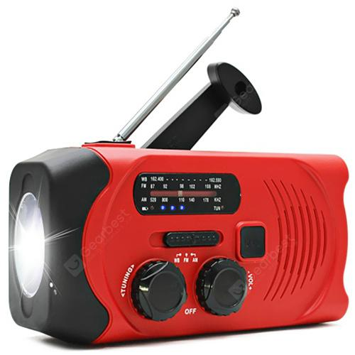 Gocomma Multi-function Solar Hand-cranked Radio Camping Light - Red