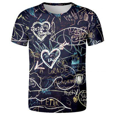 Men's T-shirt Formula Printed Loose Short-sleeved Round Neck