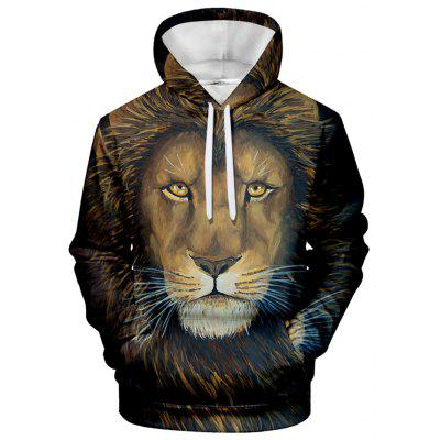 Men's Hoodie Lion Print with Hood