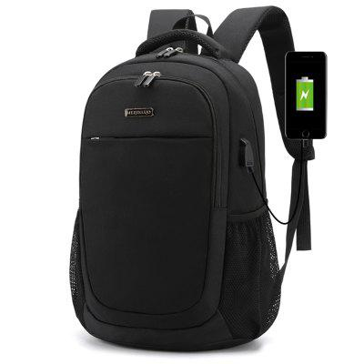 Men's Backpack Wide Shoulder Strap Zipper Pocket 15.6-inch Laptop Bag