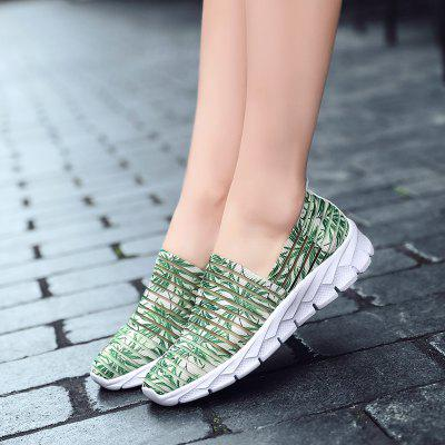 Women's Summer Unique Striped Hollow Out Casual Shoes Slip-on