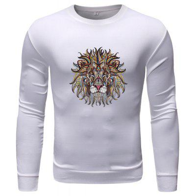 Men's Sweatshirt Round Neck Lion Print