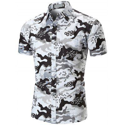 Men's Shirt Casual Lapel Short Sleeve Camouflage Print