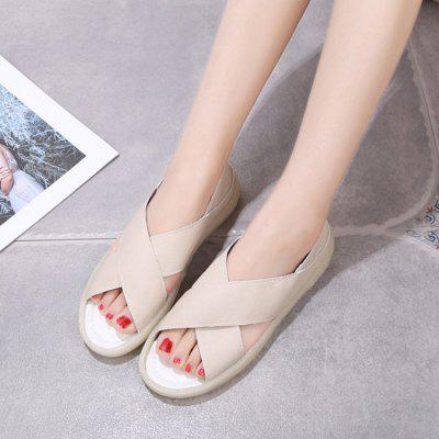 Ladies Summer Simple Solid Color Cross Hollow Sandals Open