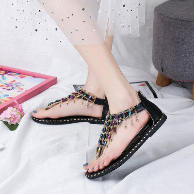 Ladies Summer Flat With Toe Sandals Beaded Decoration