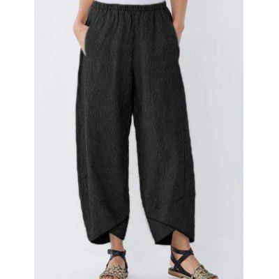 Fashionable Solid Color Striped Loose Casual Women Pants