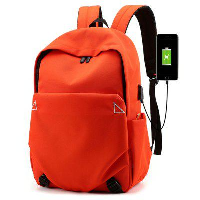 xingyunzhe6269 Men's Concise Solid Color Casual Student Backpack USB Charging