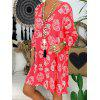 Ladies Dress Large Size Loose Fashion Retro Print - RED