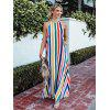 Ladies Beach Maxihart Vertical Stripe Print Dress Backless - MULTI-A