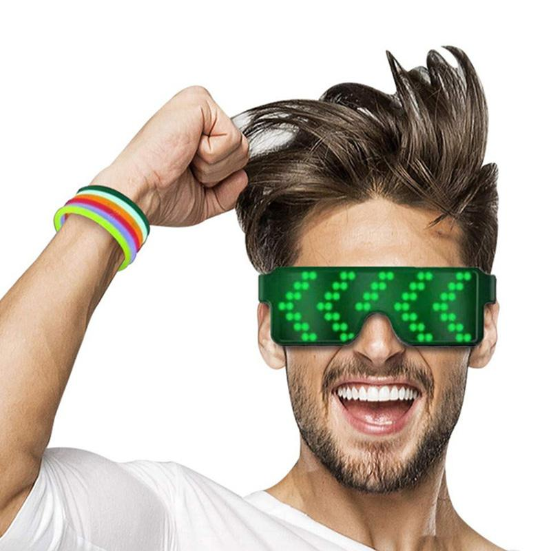 BRELONG LED Light Party Glasses Rechargeable with Multiple Animation Modes